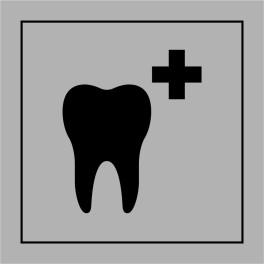 "[VISUEL EN ATT CREA GRIS ET BLEU] Pictogramme PI PF 043 ""Soins dentaires"" ISO 7001 en Gravoply"