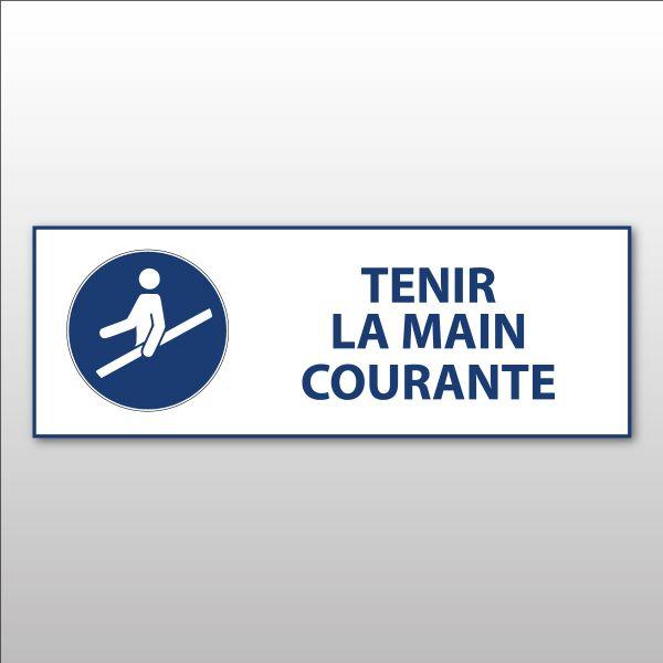 """Panneau d'Obligation ISO 7010 """"Tenir la main courante"""" M012 - Vinyle - 297 x 105 mm"""