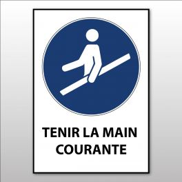 """Panneau d'Obligation ISO 7010 """"Tenir la main courante"""" M012 - Vinyle - A5"""