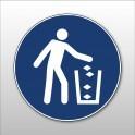 """Rouleau de Pictogrammes d'Obligation ISO 7010 """"Utiliser la poubelle"""" M030 - ø25 mm"""