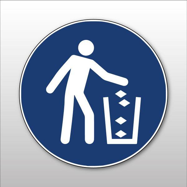 """Pictogramme d'Obligation ISO 7010 """"Utiliser la poubelle"""" M030 - Vinyle - ø100 mm"""
