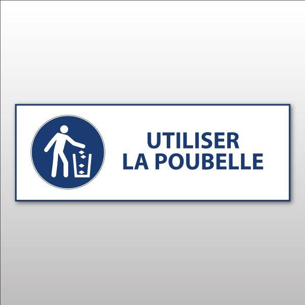 """Panneau d'Obligation ISO 7010 """"Utiliser la poubelle"""" M030 - Vinyle - 297 x 105 mm"""