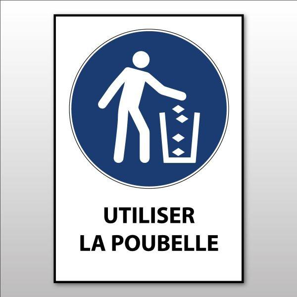 """Panneau d'Obligation ISO 7010 """"Utiliser la poubelle"""" M030 - Vinyle - A5"""