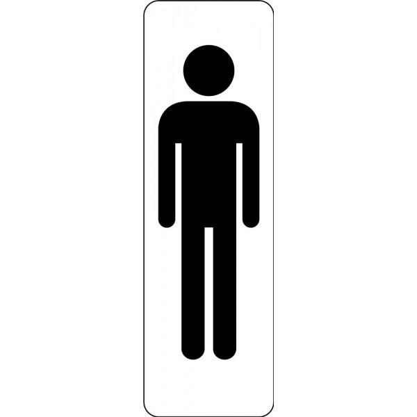 Panneau de Signalétique Silhouette Homme WC- Fond Blanc ou Argenté - 47 x 150 mm