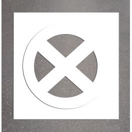 """Pochoir PVC """"Arrêt et stationnement interdits"""" 800 x 800 mm"""