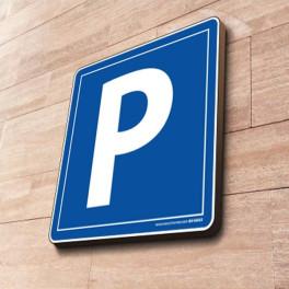 """[ATTENTE VISUEL] Panneau parking """"Lettre P"""" à couvre-chant - 500 x 500 mm"""