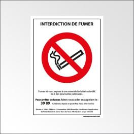 """Panneau d'interdiction ISO EN 7010 """"Interdiction de fumer"""" P002 PVC ou vinyle adhésif"""