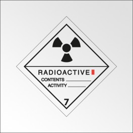 "Signalisation de transport normalisée ADR - ""Matières radioactives, catégorie I"""