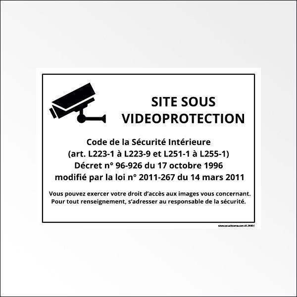 """Panneau d'information """"Site sous vidéoprotection"""" Blanc"""