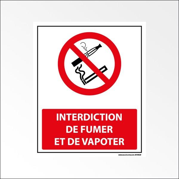 """Panneau """"Interdiction de fumer et de vapoter"""""""