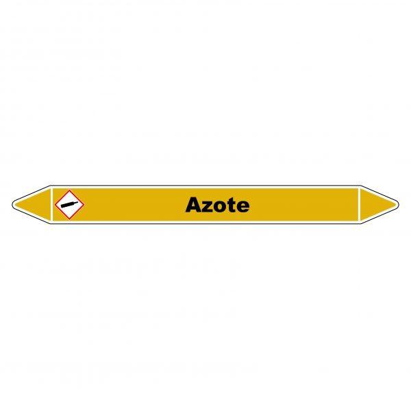 """Marqueur de Tuyauterie """"Azote"""" en Vinyle Laminé"""