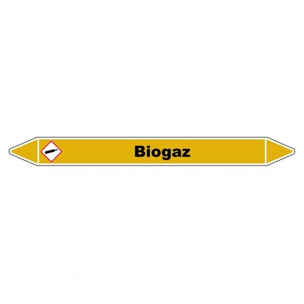 "Marqueur de Tuyauterie ""Biogaz"" en Vinyle Laminé"
