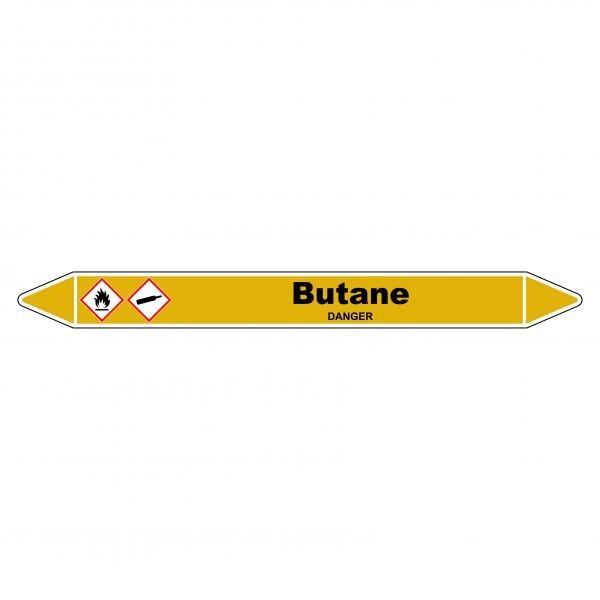 """Marqueur de Tuyauterie """"Butane"""" en Vinyle Laminé"""