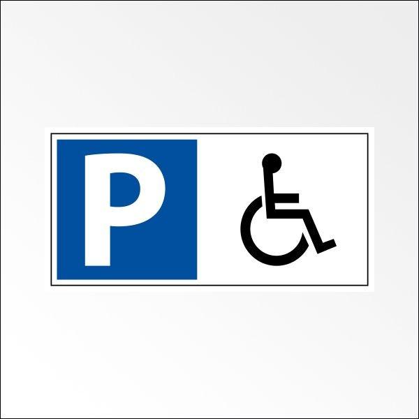"""Panneau de parking en aluminium """"P + symbole PMR"""""""