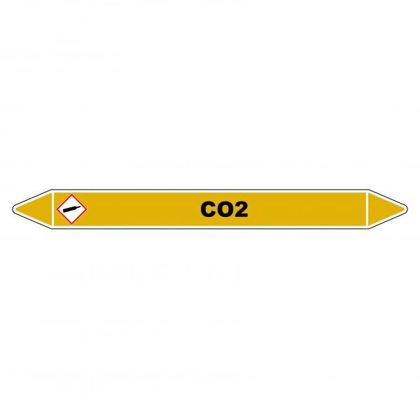 "Marqueur de Tuyauterie ""CO2"" en Vinyle Laminé"