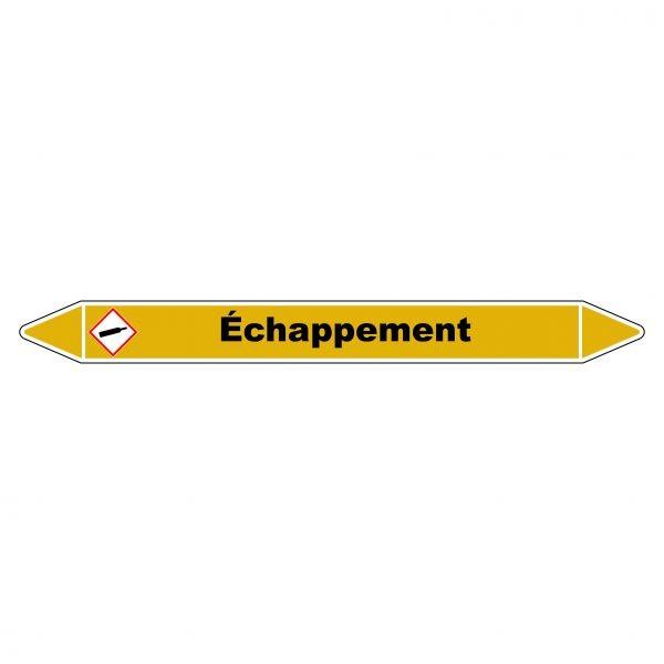 """Marqueur de Tuyauterie """"Echappement"""" en Vinyle Laminé"""