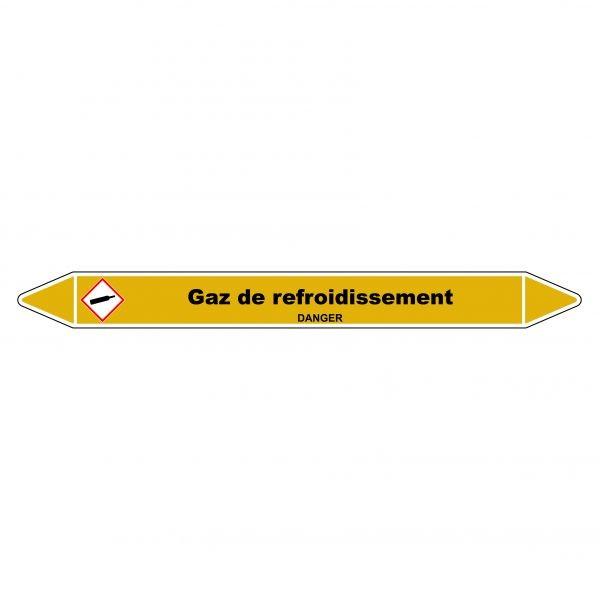 """Marqueur de Tuyauterie """"Gaz de refroidissement"""" en Vinyle Laminé"""