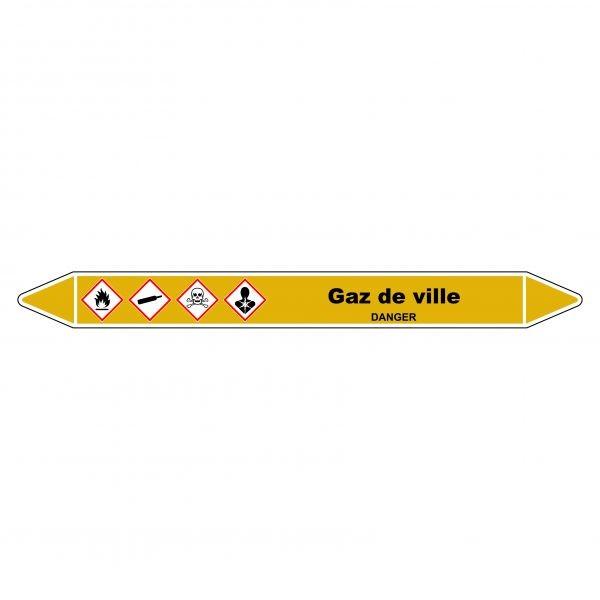 """Marqueur de Tuyauterie """"Gaz de ville"""" en Vinyle Laminé"""