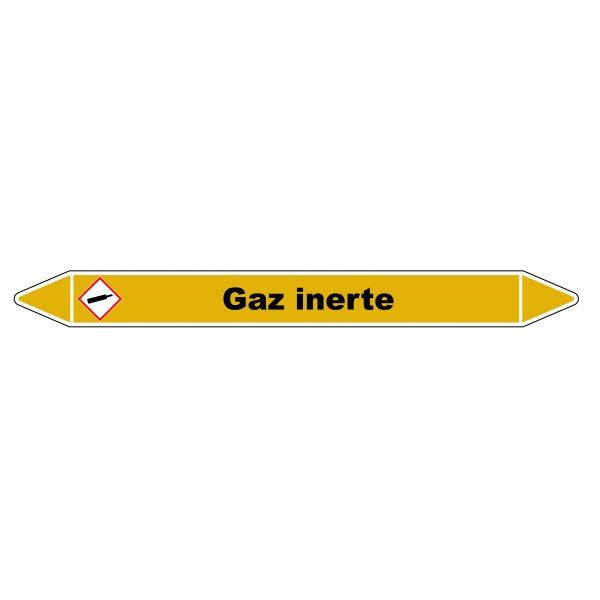 """Marqueur de Tuyauterie """"Gaz inerte"""" en Vinyle Laminé"""