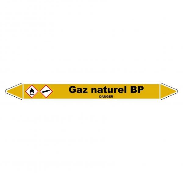 """Marqueur de Tuyauterie """"Gaz naturel BP"""" en Vinyle Laminé"""