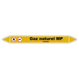 """Marqueur de Tuyauterie """"Gaz naturel MP"""" en Vinyle Laminé"""