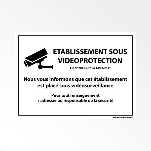 """Panneau d'information """"Etablissement sous vidéoprotection """" blanc"""