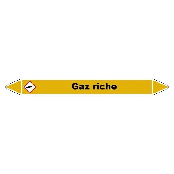 "Marqueur de Tuyauterie ""Gaz riche"" en Vinyle Laminé"