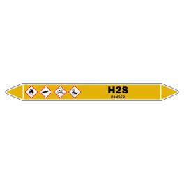 """Marqueur de Tuyauterie """"H2S"""" en Vinyle Laminé"""