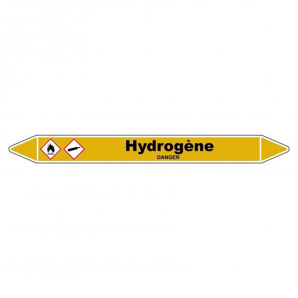 """Marqueur de Tuyauterie """"Hydrogène"""" en Vinyle Laminé"""