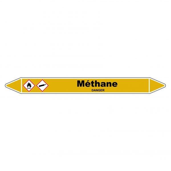 "Marqueur de Tuyauterie ""Méthane"" en Vinyle Laminé"