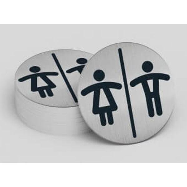 """Pictogramme rond de porte """"Toilettes Mixtes H/F"""""""