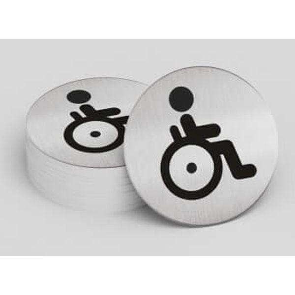 """Pictogramme rond de porte """"Toilettes personnes handicapées"""""""