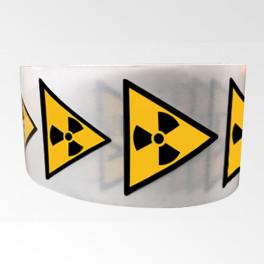 """Rouleau de Pictogrammes de Danger ISO EN 7010 """"Matières radioactives ou radiations"""" W003"""