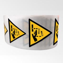 """Rouleau de Pictogrammes de Danger ISO EN 7010 """"Substance corrosive"""" W023"""