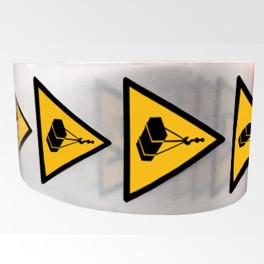 """Rouleau de Pictogrammes de Danger ISO EN 7010 """"Charges suspendues"""" W015"""