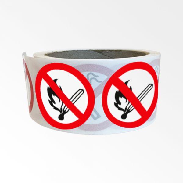 """Rouleau de Pictogrammes d'Interdiction ISO EN 7010 """"Flammes nues interdites"""" P003"""