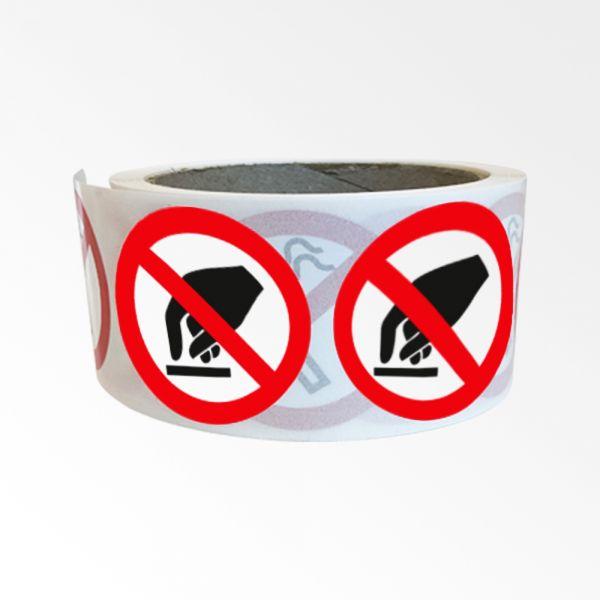 """Rouleau de Pictogrammes d'Interdiction ISO EN 7010 """"Interdiction de toucher"""" P010"""