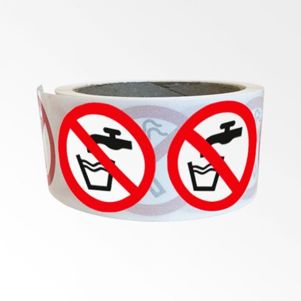 """Rouleau de Pictogrammes d'Interdiction ISO EN 7010 """"Eau non potable"""" P005"""
