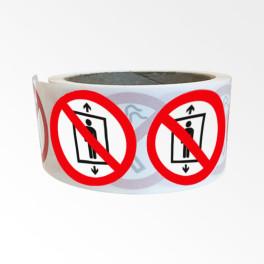 """Rouleau de Pictogrammes d'Interdiction ISO EN 7010 """"Ne pas utiliser cet ascenseur pour des personnes"""" P027"""