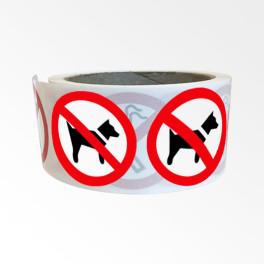 """Rouleau de Pictogrammes d'Interdiction ISO EN 7010 """"Interdit aux chiens"""" P021"""