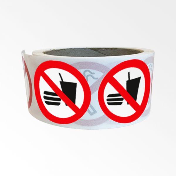 """Rouleau de Pictogrammes d'Interdiction ISO EN 7010 """"Interdiction de manger et boire"""" P022"""