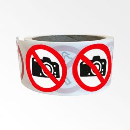 """Rouleau de Pictogrammes d'Interdiction ISO EN 7010 """"Interdiction de photographier"""" P029"""