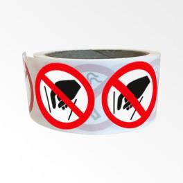"""Rouleau de Pictogrammes d'Interdiction ISO EN 7010 """"Ne pas mettre les mains"""" P015"""
