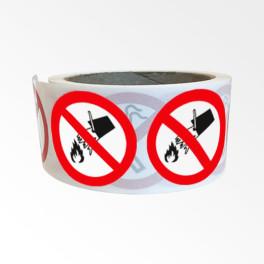 """Rouleau de Pictogrammes d'Interdiction ISO EN 7010 """"Interdiction d'éteindre avec de l'eau"""" P011"""