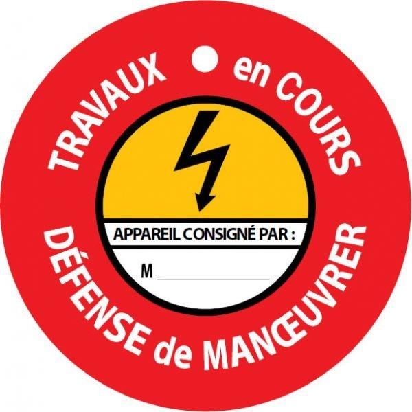 """Disque de condamnation aimanté """"TRAVAUX EN COURS - DEFENSE DE MANOEUVRER"""" ⌀100mm"""