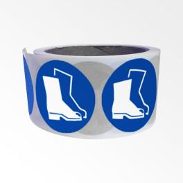 """Rouleau de Pictogrammes d'Obligation ISO EN 7010 """"Chaussures de sécurité obligatoires"""" M008"""