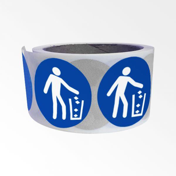 """Rouleau de Pictogrammes d'Obligation ISO 7010 """"Utiliser la poubelle"""" M030"""