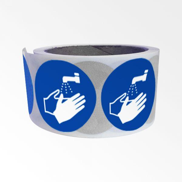 """Rouleau de Pictogrammes d'Obligation ISO EN 7010 """"Lavage des mains obligatoire"""" M011"""