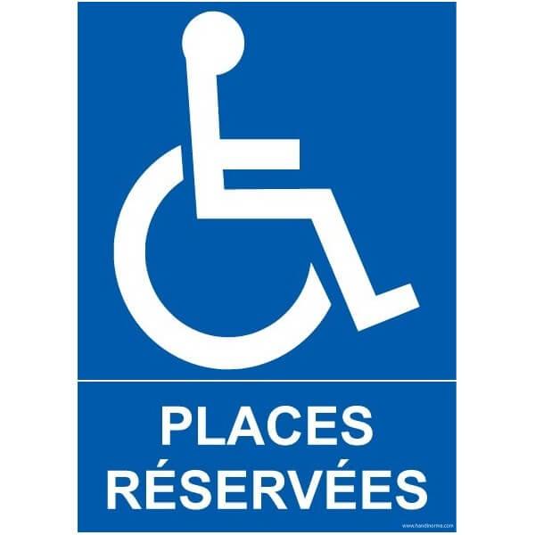 """Panneau Parking """"places réservées"""" handicapé"""