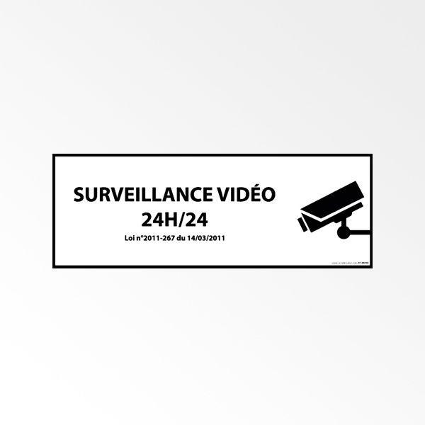 """Panneau d'information """"Surveillance vidéo 24h/24h"""" avec décret"""